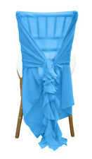 MALIBU TURQUOISE CHIFFON CHIAVARI CHAIR CAP HOOD SASH FOR ELEGANT WEDDING