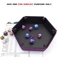 Dice PU Leather Game Accessories Folding Hexagon Tray Purple Game Prop Jian