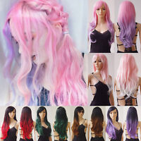 USA Long Hair Wig With Bangs Women Natural Wavy Straight Cosplay Party Full Wigs