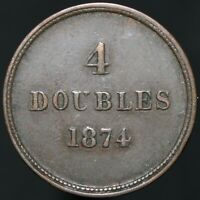 1874 | Guernsey 4 Doubles | Bronze | Coins | KM Coins