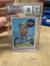 1969 Topps Reggie Jackson Rookie Card Signed BGS 9! Inscribed!
