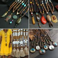 Vintage Womens Nepal Buddhist Mala Bead Pendant Necklace Horn Fish Long Chain