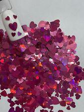 Valentine's Dark Pink Hearts 2 sizes Nail Glitter | 1 TSP | Nail Art & Acrylic
