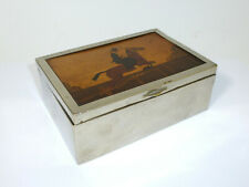 Beautiful Old Casket With Inlaid England Um 1900 Horse Horseman Rider