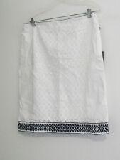 Adrianna Papell White & Black Cotton Embroidered Eyelet Panel Skirt Size 12-NWT