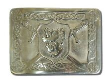 Lion Rampant Pewter Belt Buckle CHROME FINISH For Scottish Party and Casual