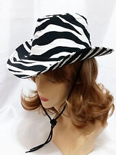 S/M Striped Zebra Black White Cowgirl Cowboy Western Rodeo Beach Wide Brim Hat