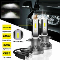 CREE 200W 30000LM KIT XENON LED H7 6500K AMPOULE BLANC  VOITURE FEUX PHARE KIT