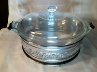 Pyrex 2 Qt Clear Glass #024 Round Casserole Baking Dish W/Lid and Metal Server