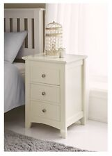 NEW ELEGANT CREAM SOLID WOODEN 3 DRAWER BED SIDE TABLE LAMP LETTER ROOM CABINET