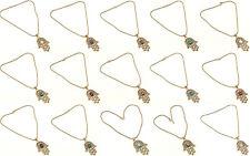 Amazing Wholesale Lot Tibetan Silver Brass 20Pcs Pendant Chain Gemstone Jewelry