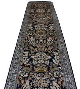 Oriental Persian Hand Knotted Silk Hallway Rug Carpet Runner Floor 550x78 cm