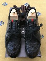 Gucci Mens Trainers Sneakers Black Leather Shoes UK 7.5 US 8.5 EU 41.5 Web Croc