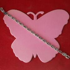 "Beautiful 18K White Gold Gp Bracelet With Amethyst Gems 18.1 Gr. 7"" Inc. In Box"