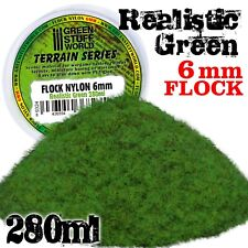 Static Grass Flock 6mm - Realistic Green - 280 ml - Scenery Grass diorama bases