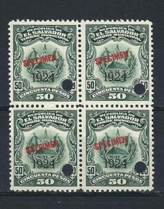 El Salvador 1924 Specimen 50 pesos Revenue municipal block 4 MNH
