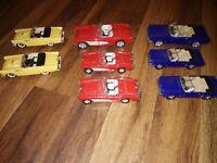 LOT OF 8 vtg 1:34 convertible cars 1965 Ford Mustangs+Corvettes+Thunderbirds