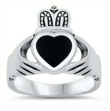Claddagh Black Onyx Heart Ring Sterling Silver 925 Face Height 18 mm Size 10