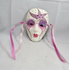 Mardi Gras Mask Porcelain Purple Blue Pink New Orleans Artist Signed