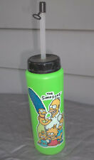"""New Vintage 1990 """"The Simpsons"""" 9"""" Green Water Bottle with Cap & Straw"""