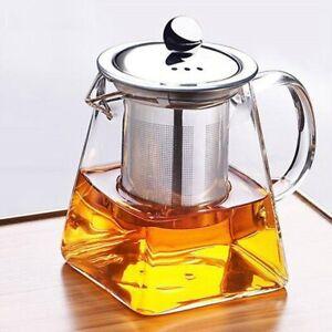 Glass Teapot Tea Set Drinkware Ice Water Flower Tea Coffee Infuser Strainer Lid