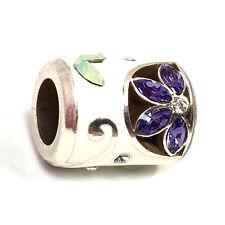 Authentic Brighton Giardino Bead Purple, J9750B, Silver / White Enamel, New