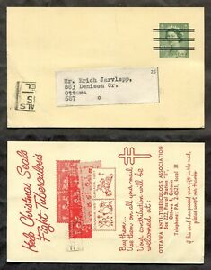 1259- Canada #P212g Karsh Precancel Postal Card 1957 Christmas Seals Advertising