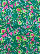 """Lilly Pulitzer Cotton Fabric Print Pink Sunset Guac and Roll 1 yard (36"""" x 68"""")"""