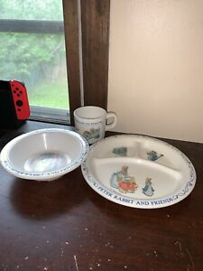 Eden Peter Rabbit and Friends 3 Piece Melamine Set Divided Plate bowl & Cup