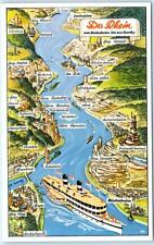 Beautiful ILLUSTRATED MAP  Postcard   DER RHEIN - GERMANY   Cruise Ship