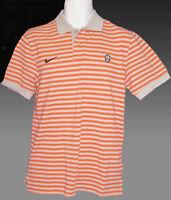 New Vintage NIKE JUVENTUS Football  Polo Shirt Cotton Orange Striped M