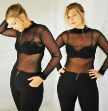 Honest Womens Mesh Fishnet Fashion Long Sleeve Sheer Blouse Top Shirt Bikini Blouse Solid Costume Sale Price Women's Clothing