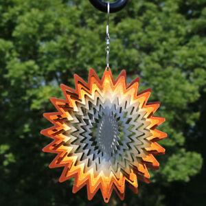 """Sunnydaze 3D Orange Star Hanging Whirligig Outdoor Wind Spinner with Hook - 6"""""""