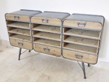 INDUSTRIAL VINTAGE STYLE WOOD LARGE CABINET, SIDEBOARD WITH PIGEON HOLE STORAGE