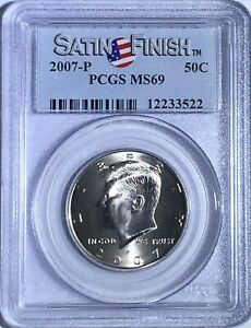 2007-P KENNEDY HALF PCGS MS69 PQ SATIN FINISH FINEST KNOWN SPOT FREE GEMS 50c