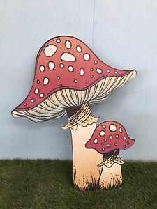 Giant MDF Double Mushroom Toadstool Magic Fairy Halloween Decoration Prop HW WL
