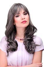 femmes élégantes Perruque gris brun-gris foncé ondulé frange env. 55cm 3001-44