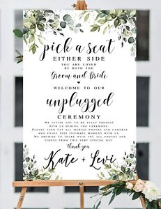 ~Unplugged ceremony~ Choose a seat 12''X 18''  Personalized Wedding Sign/Paper
