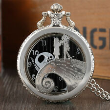Retro The Nightmare Before Christmas Silver Quartz Pocket Watch Pendant Chain