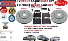 FOR MERCEDES Estate C180 C200 C230 C280 C270 FRONT BRAKE DISCS + PADS + SENSORS