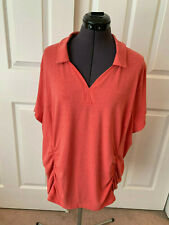DULUTH TRADING CO Watermelon Red V-Neck Short Sleeve Ruched Cotton Blend Top 2XL