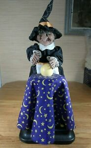 Vintage Gemmy Animated FORTUNE TELLER WITCH Moves Talks Crystal Ball Halloween
