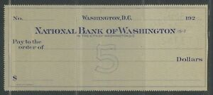 US NATIONAL BANK OF WASHINGTON, D.C. UNUSED CHECK 192?