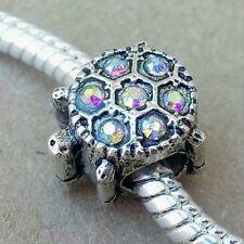 1 Sparkling Ocean Sea Turtle Crystal Rhinestone Summer Beach European Bead Charm