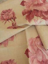 MARCATO tessuto stoffa scampolo ELISABETH Liserè sfumato design ROSE misto lino