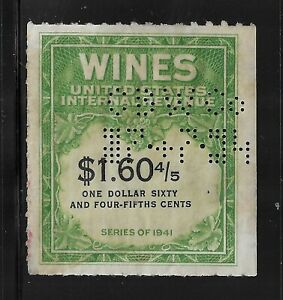 HICK GIRL-OLD USED U.S. WINE STAMP   $1.60 4/5 CENT    SERIES OF 1941      R362