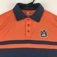 Auburn Tigers Mens Polyester Short Sleeve Logo Polo Shirt Two Tone Orange Grey