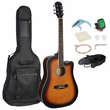 41in Full Size Beginner Acoustic Cutaway Guitar Set w/Case Strap Capo Strings