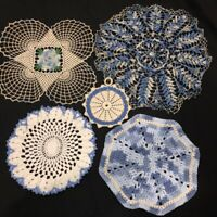 Antique Vintage Hand Crocheted Doilies Potholders Lot of 5  Blue Victorian Look