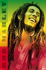 Bob Marley Colors Poster! Iconic Rasta Green Red Gold Jamaica Never Hung Star